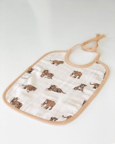 Bavoir tigre sable en mousseline de coton