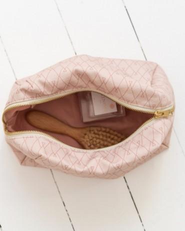 Trousse de toilette rose mousseline de coton