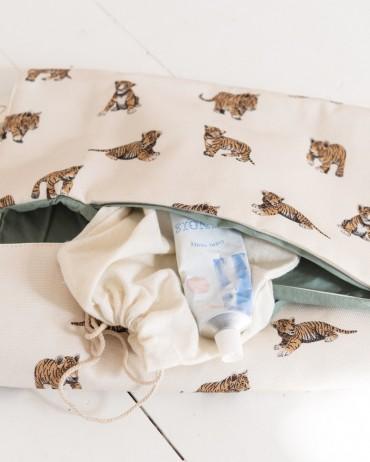 Matelas à langer tigre sauge mousseline de coton toute douce