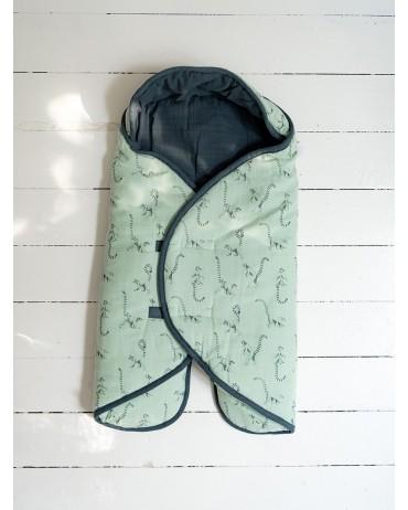 Couverture nomade céladon orage en mousseline de coton