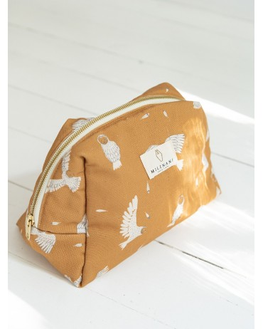 Toiletry bag with an owl motif in Whisky colour