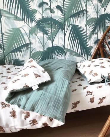 Parure de lit jeanne Tigre sauge pour enfant