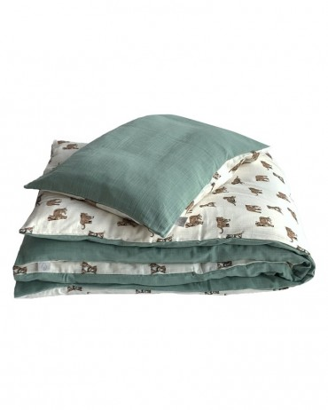 Reversible bed linen set tiger or sage