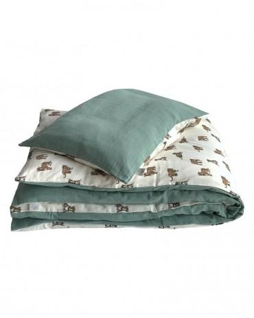 Parure de lit réversible tigre ou sauge