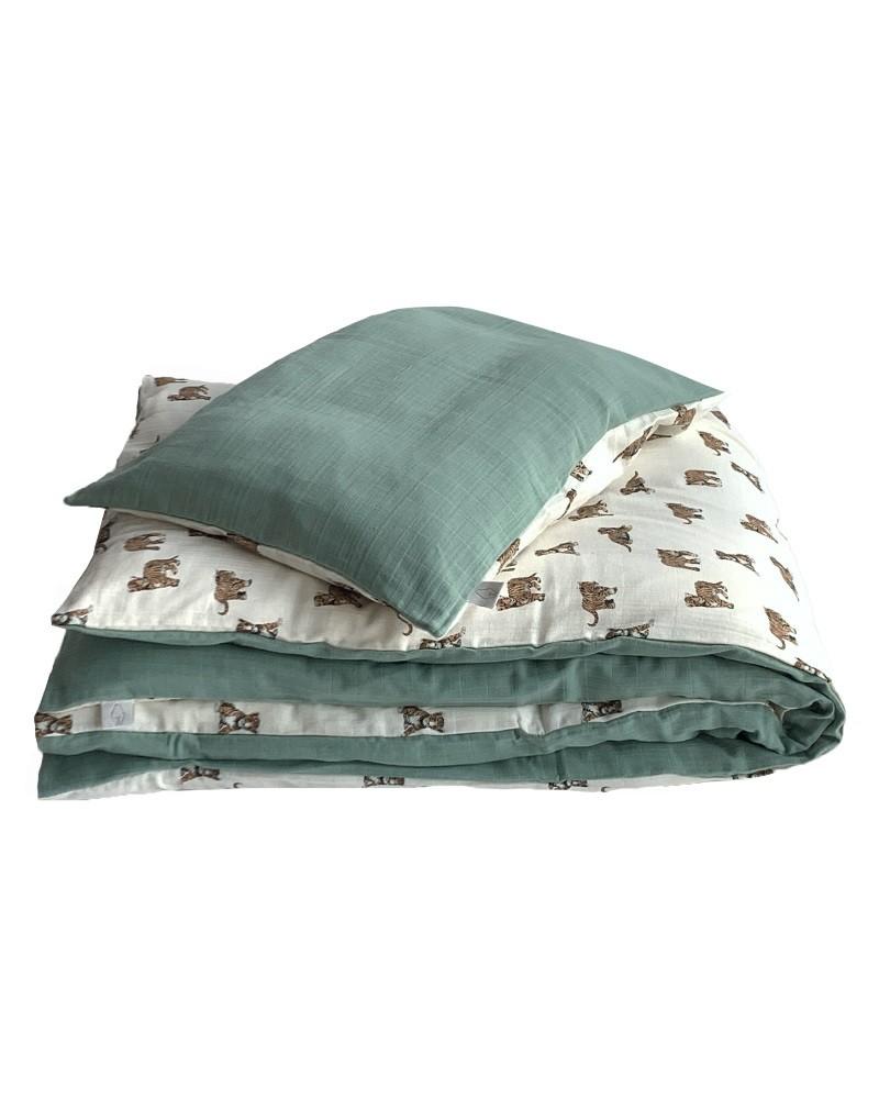 Reversible bed linen set tiger or sage