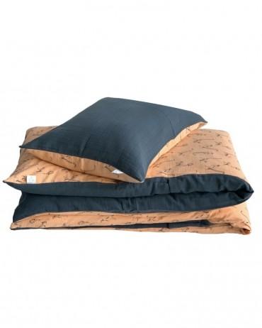 Peach and Storm Lemur bed linen set