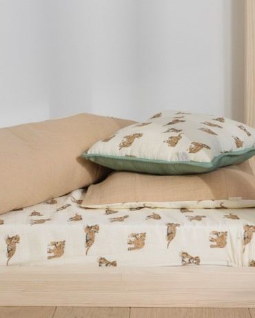 Drap housse tigre mousseline de coton