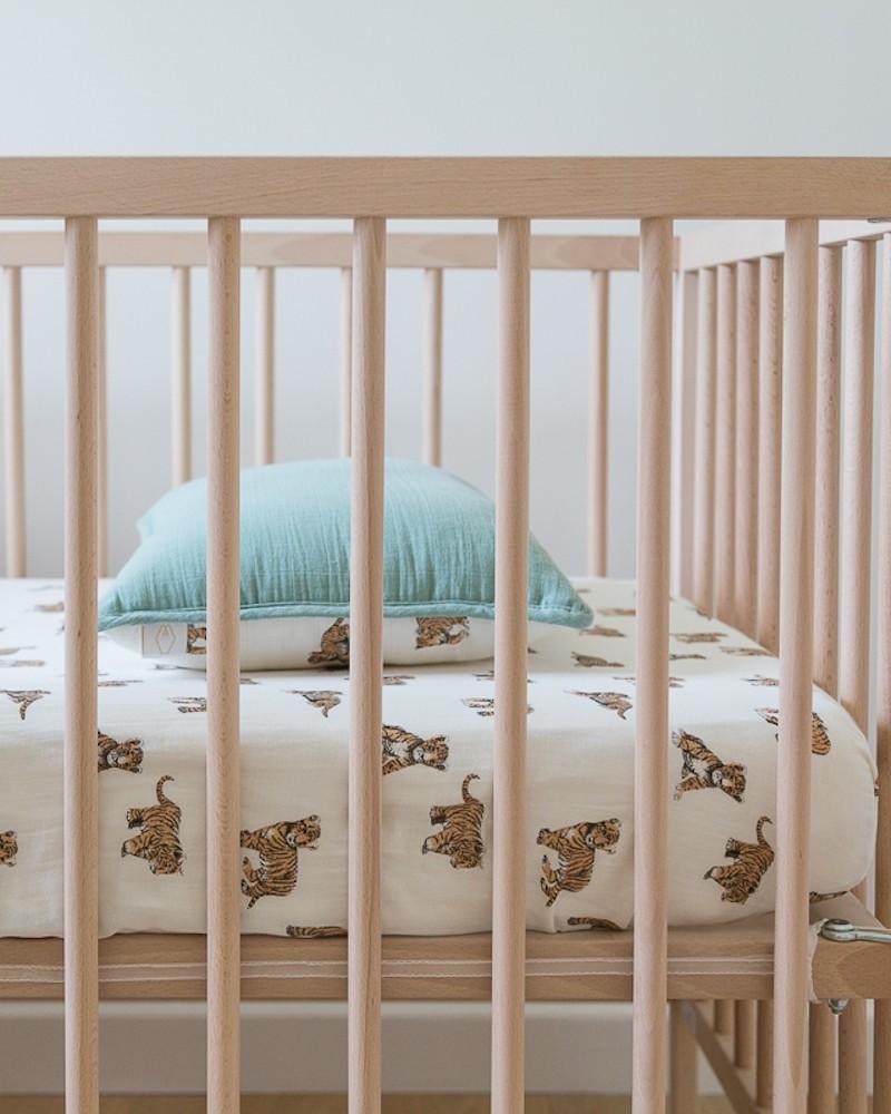 drap housse tigre double gaze de coton milinane. Black Bedroom Furniture Sets. Home Design Ideas