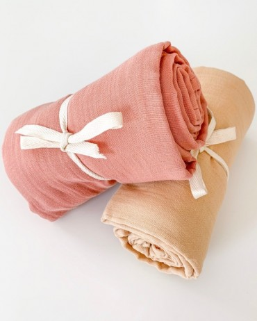 Maxi Swaddle Graphic and Terracotta by Milinane