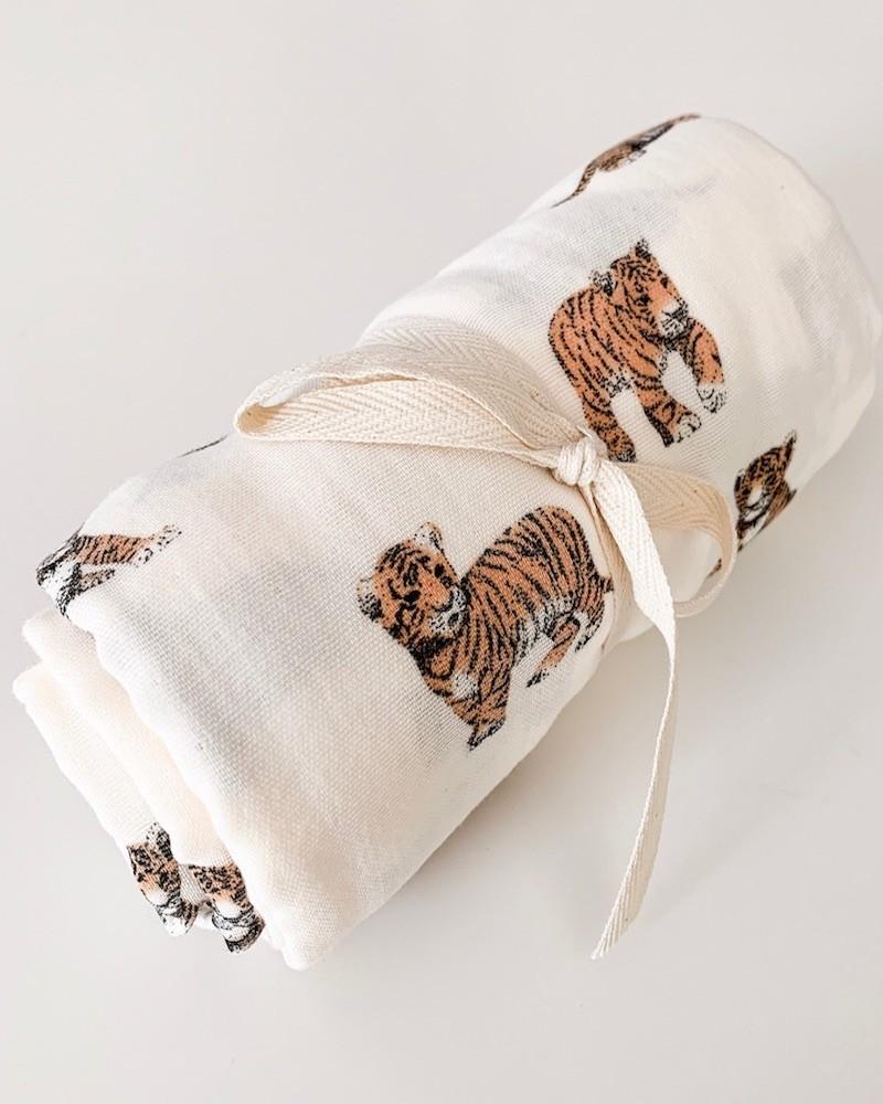 Maxi lange en coton bio rose et tigre