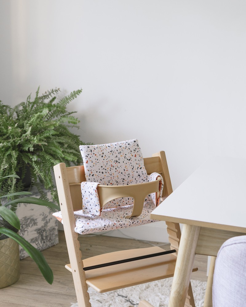 Beautiful High Terrazzo and Rust Chair cushion