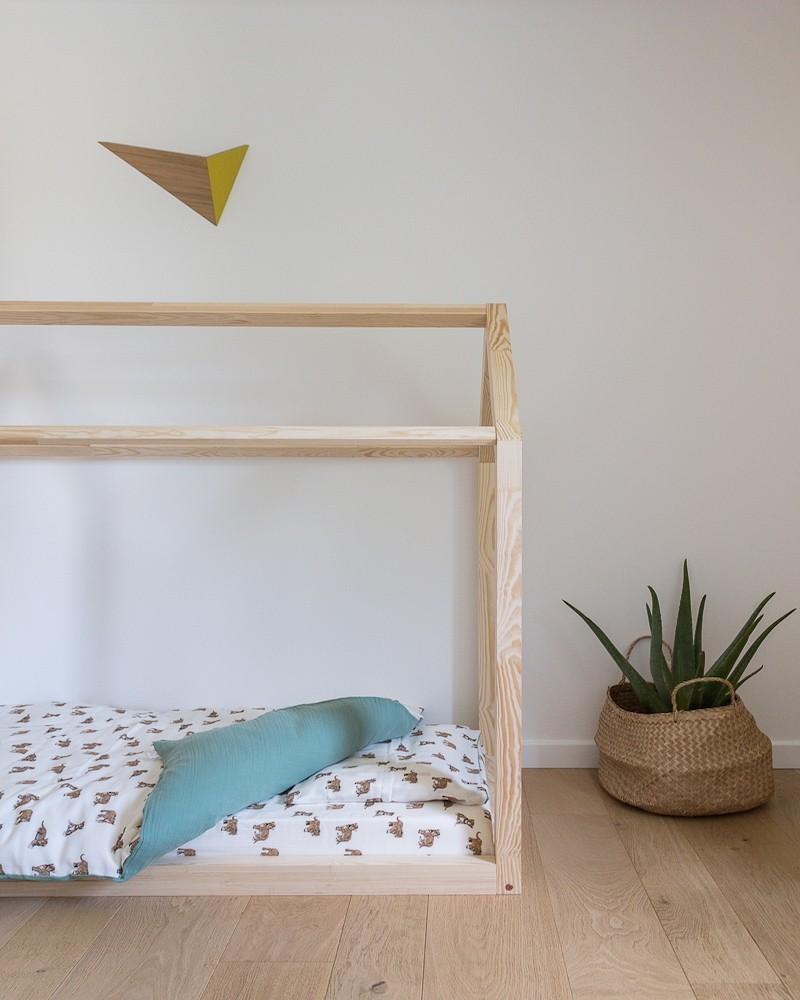 parure de lit en coton bio tigre et sauge
