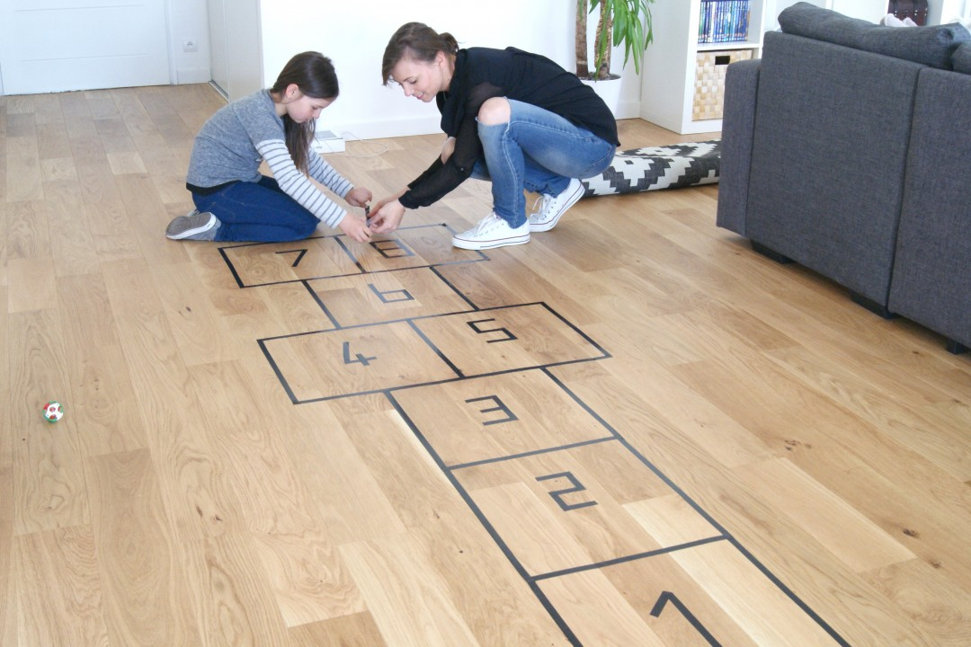 hopscotch on the ground with adhesive tape