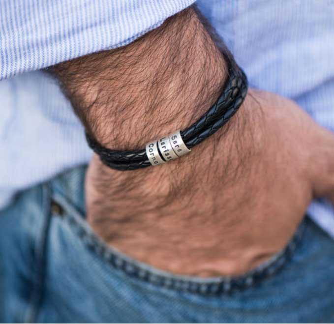 bracelet cuir argent fête des pères
