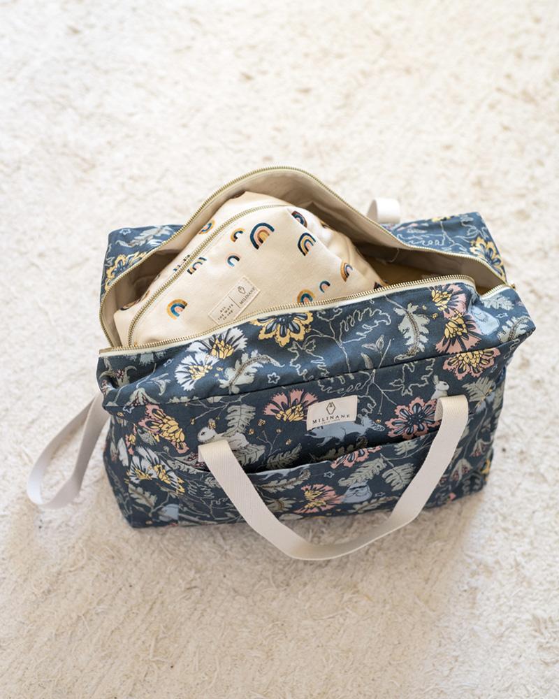 Grand sac a langer fleuri motif Rêve Bucolique de la marque Milinane