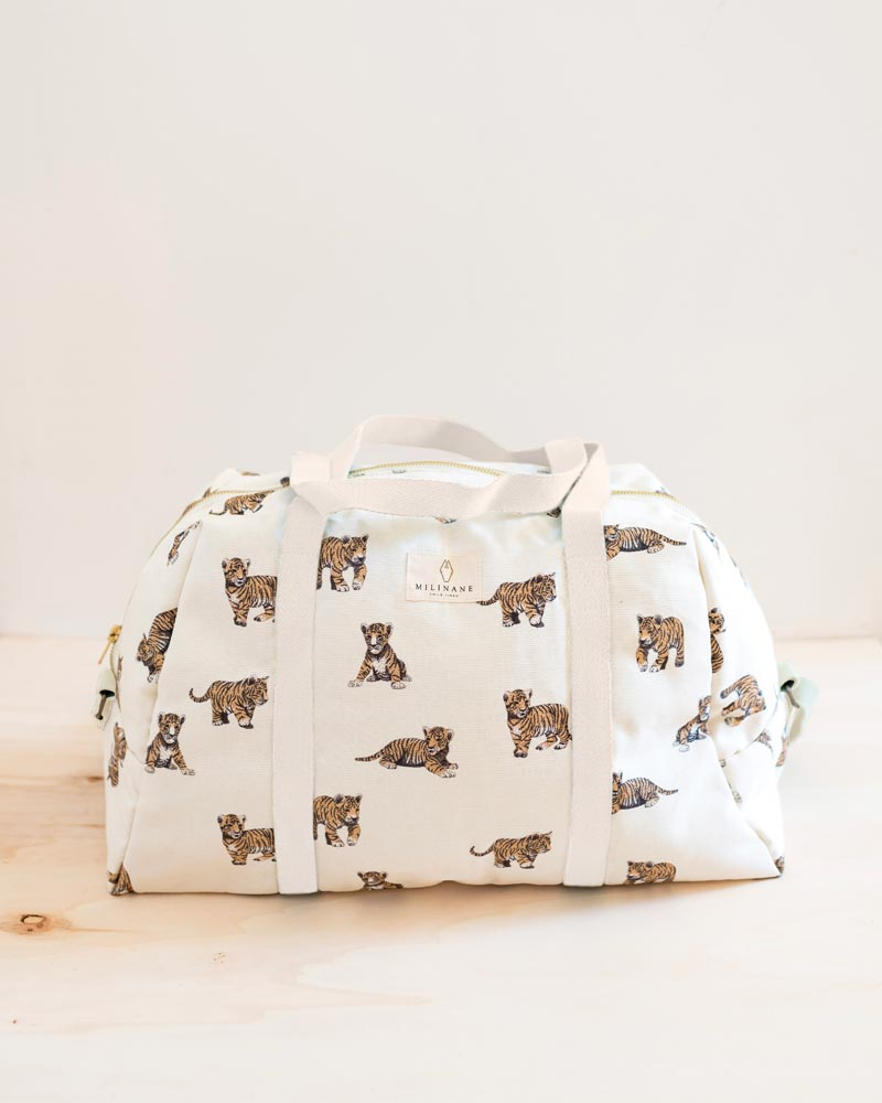 Tiger cotton changing bag by Milinane