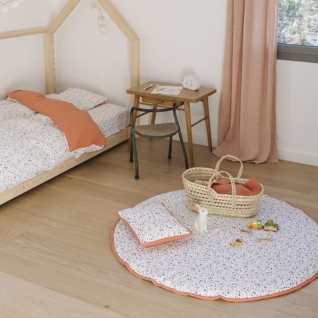room decorated with terrazzo pattern
